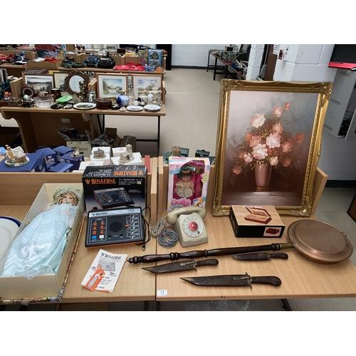 17 - A boxed porcelain doll, gilt framed painting, copper bed warmer, Binatone TV master etc....