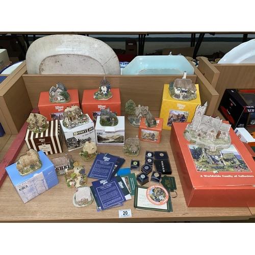 20 - Eight boxed Lilliput lane houses, seven unboxed houses, Lilliput Lane pin badges etc....