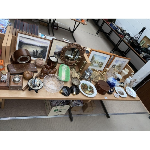 28 - A collection of mixed items, treen, brassware, fine china including Aynsley etc....