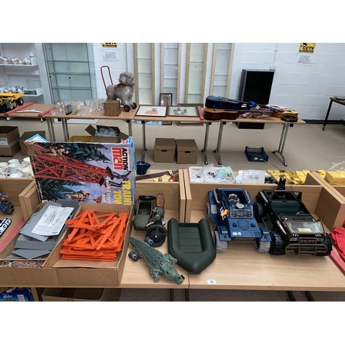 34 - Vintage Action Man boxed training tower, Action Man vehicles including motorbike and side car etc....