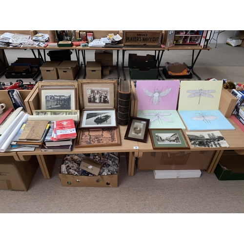38 - Pictures and prints, family bible, rugby programmes, railway books etc....