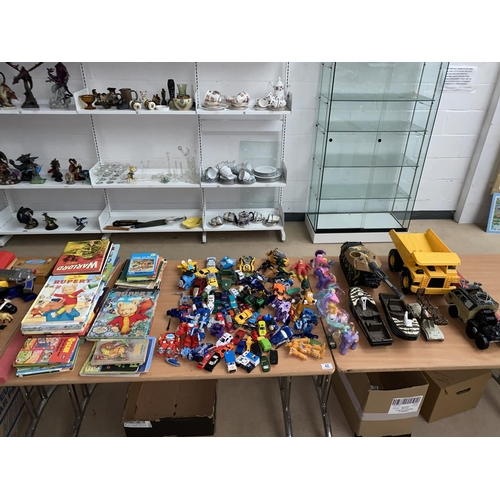 42 - Vintage annuals and books, Action figures and vehicles etc....
