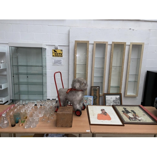 44 - A vintage push a long dog, tea chest and a collection of glassware, Waterford crystal , Edinburgh cr...