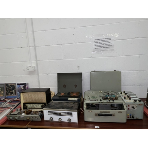 49 - A vintage reel to reel recorder, vintage radio and other stereo equipment...