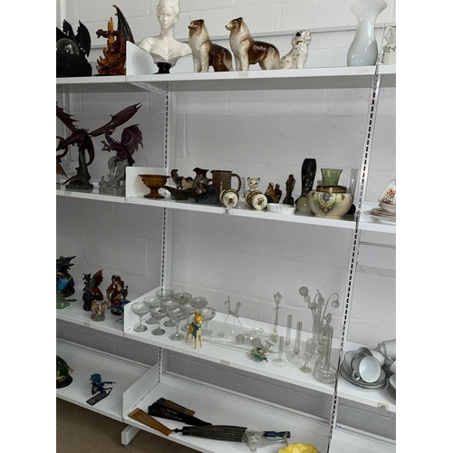 53 - Mixed glass and china including Babycham glasses, Ewenny pottery etc- 4 shelves...