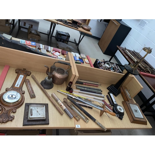 6 - Wooden barometers, copper kettle, brass school bell, vintage thermometers etc....