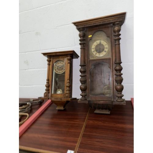 8 - Two oak Vienna wall clocks...