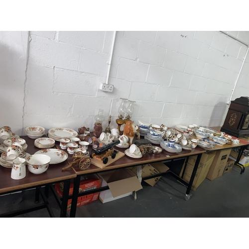 84 - Part tea sets, Staffordshire lion, ornamental canons, Japanese china etc.