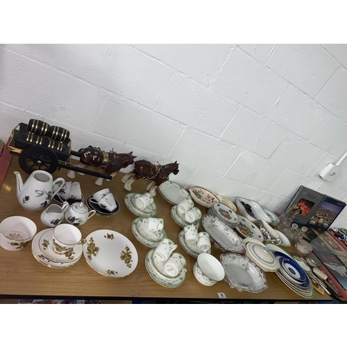 86 - Part tea sets, decorative china and dressing table mirrors, scent bottles etc.