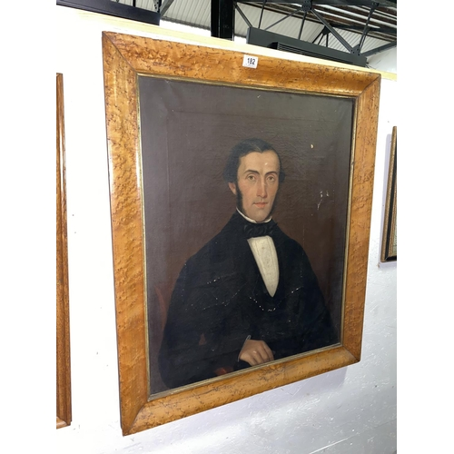 182 - A walnut framed oil on canvas portrait with the inscription to the rear' Presented to Rebecca Henry ...