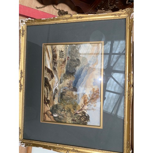 36 - A pencil drawing of a nude and a gilt framed watercolour of a landscape