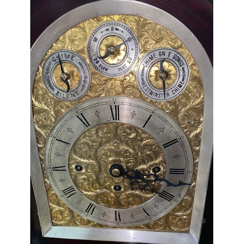 85 - A Victorian very large boardroom bracket clock with fusee movement in a mahogany case - 8 bells or W...