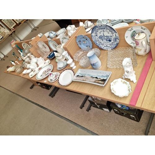 23 - Mixed glass and china including Copenhagen porcelain, Portmeirion, Royal Doulton etc.
