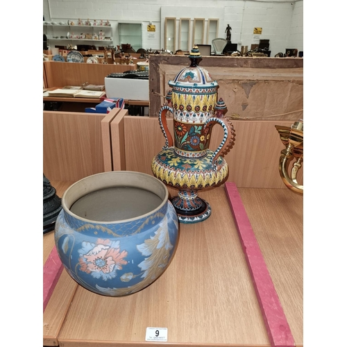 9 - A large Majolica vase with lid and an art pottery bowl vase