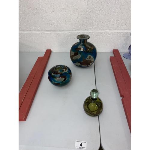 4 - Three pieces of Mdina glass