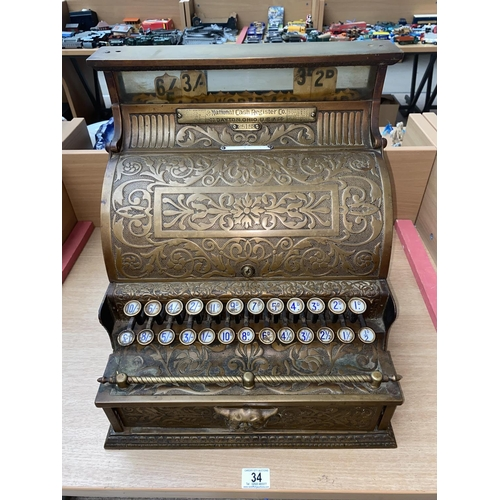 34 - A 'The National Cash Register Co'  Dayton, Ohio, USA, No 25152, label underneath dated 1890