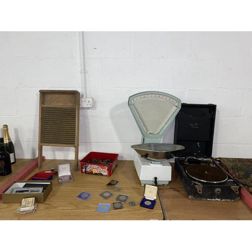 63 - A set of Avery weighing scales, May-Fair gramophone, coins and pens etc.