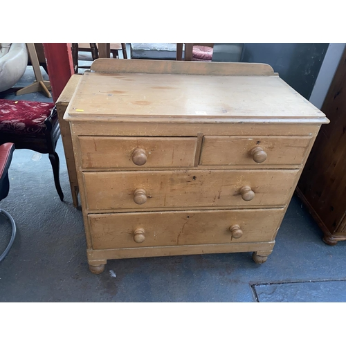 518 - A Victorian 2 over 2 pine chest of drawers