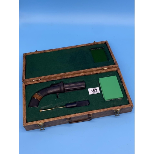 102 - An early pepper box, percussion, black powder, six shot in fitted wooden case