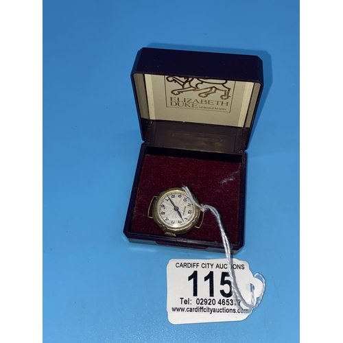 115 - A 9k gold Medana ladies watch - gold weight excluding movement & glass 2.1grams