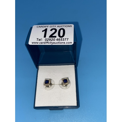 120 - A pair of 14k gold, sapphire and diamond earrings