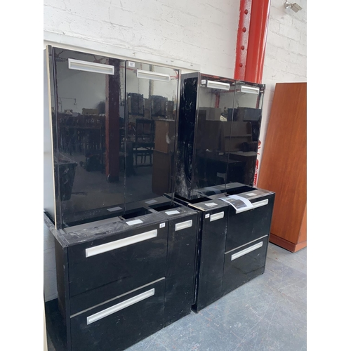 687 - Black laminate office base and wall mounted units with stainless steel effect handles- ex display