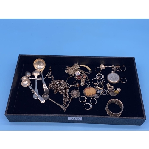 100 - Silver items to include napkin ring, chains and jewellery watch chains, fobs etc (total weight inclu...