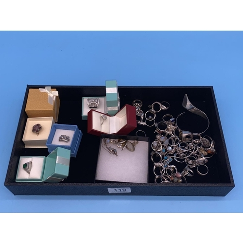 119 - Silver rings, bangles and chains etc