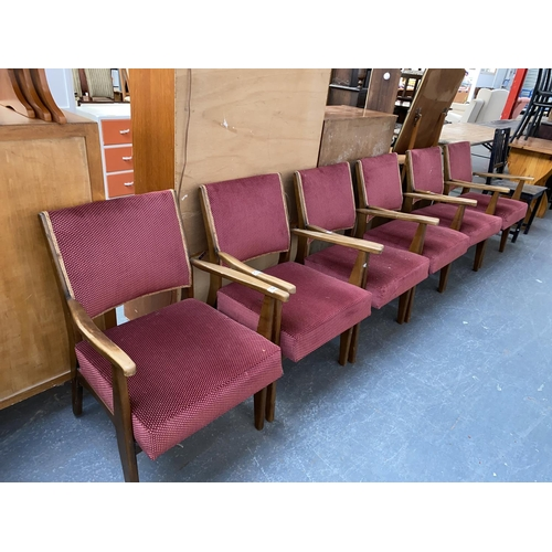 523 - Six oak frame upholstered armchairs