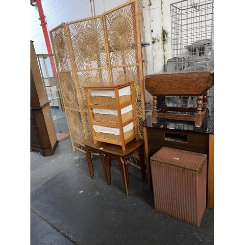 531 - A folding screen, nest of table, oak drop leaf coffee table, wicker basket etc.