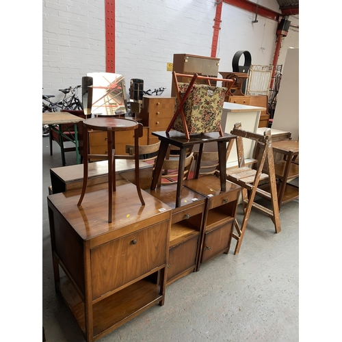 554 - Mixed furniture to include bedside cabinets, step ladder etc.