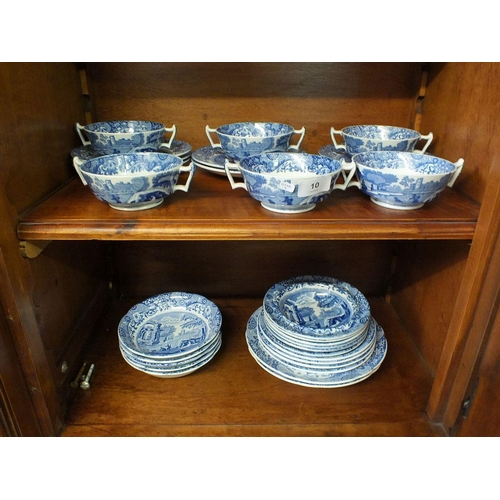10 - Six Spode Italian fruit bowls, six soups and stand and eleven various other bowls...