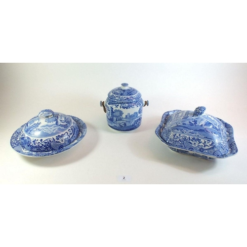 2 - A Spode Italian biscuit barrel, tureen and muffin dish...