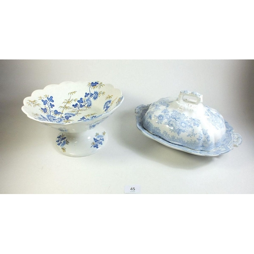 45 - A Victorian Asiatic Pheasant tureen and cover and Spode large Chinoiserie comport...