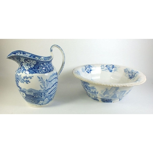 46 - A Victorian blue and white toiletry bowl with matched jug...