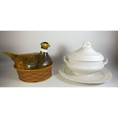 47 - A large pheasant game tureen and a large cream soup tureen...