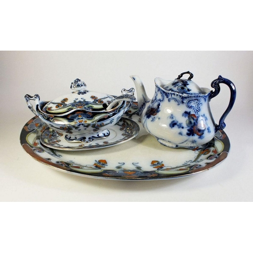 48 - An Art Nouveau Royal Staffordshire meat plate and sauce tureen with ladle plus a Bisto teapot...