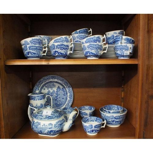 9 - Fifteen Spode Italian teacups and thirteen saucers, thirteen saucers, thirteen tea plates, teapot, c...