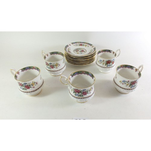 29A - A Queens 'Flowers of Amaran' set of five cups and seven saucers...