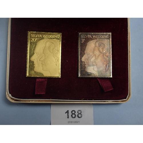188 - A 1972 22ct gold (22g) and Britannia silver pair of Silver Wedding replica commemorative stamps, box...