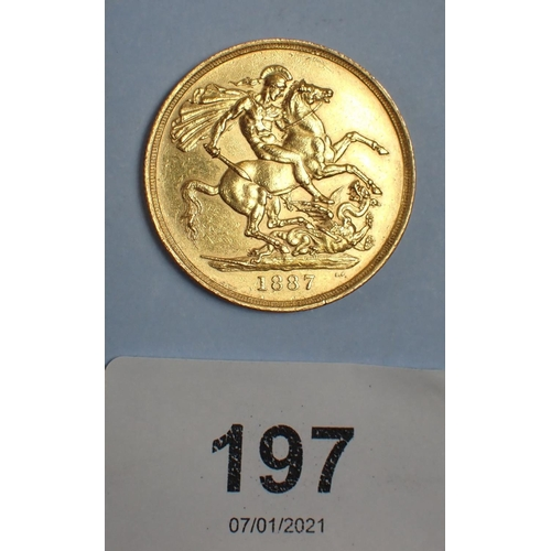 197 - Gold two pound coin, Victoria jubilee bust 1887. Condition: VF...