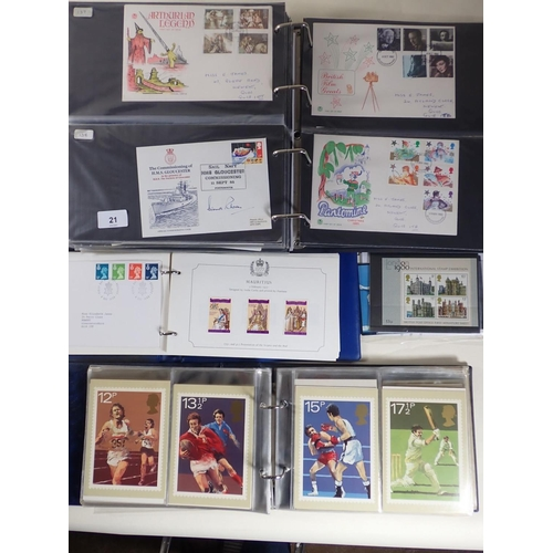 21 - Some 200 GB QEII FDC, many purposed/Philatelic Bureau, from 1967-1990. In addition, small album of P...