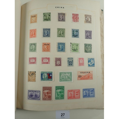 27 - Black Sydney stamp album of All world stamps, QV to QEII. Some China incl small Imperial dragons and...