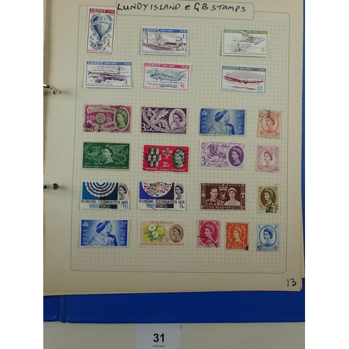 31 - Stamp collection in 2 albums of GB and ROW mint/used defin and commem. Over 1,400. Incl thematic (e....