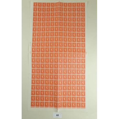 44 - Three complete QEII GB sheets: 1/2d orange-red Wilding defin, SG 570; 1/2d orange-brown Machin defin...