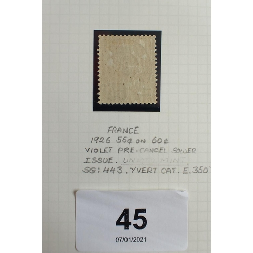 45 - Stamp of France: mint pre-cancel 55c on 60c violet, SG443, Cat £200.