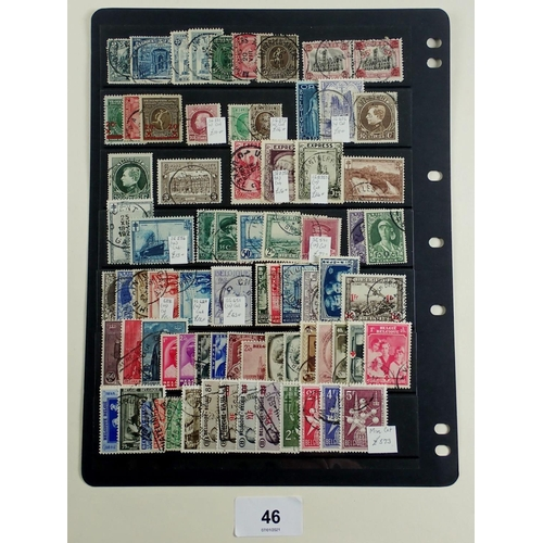 46 - Mainly good to fine used collection of Belgian stamps on double sided stock-sheet, incl SG66, 68,105...