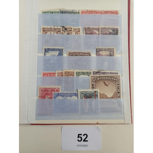 52 - Small stock-book of mint/used QV to KGV New Brunswick/Newfoundland stamps. Defin, commem and air inc...