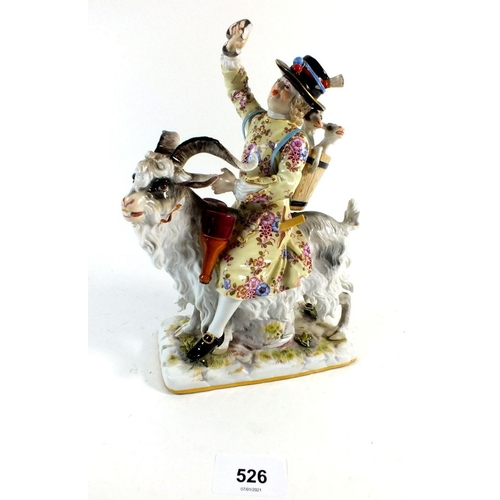 526 - A late 19th century Meissen porcelain group, Count Bruhls Tailor, some minor damage