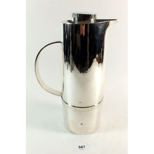 587 - A modernist sterling silver Swedish thermos flask by W A Bolin, 1555g gross, 29cm tall...